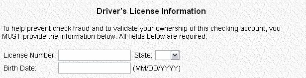 Collect Drivers License Data via Online Checks